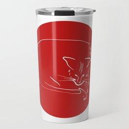Relaxing Cat in red circle Travel Mug