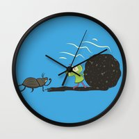 katamari Wall Clocks featuring Dung Roller Katamari by Hoborobo