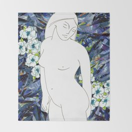 Nude with blue flowers Throw Blanket