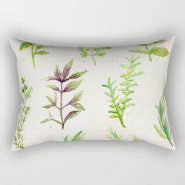 Watercolor Herbs Rectangular Pillow