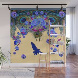 BLUE MORNING GLORIES & FLYING BLUE BIRD ART Wall Mural