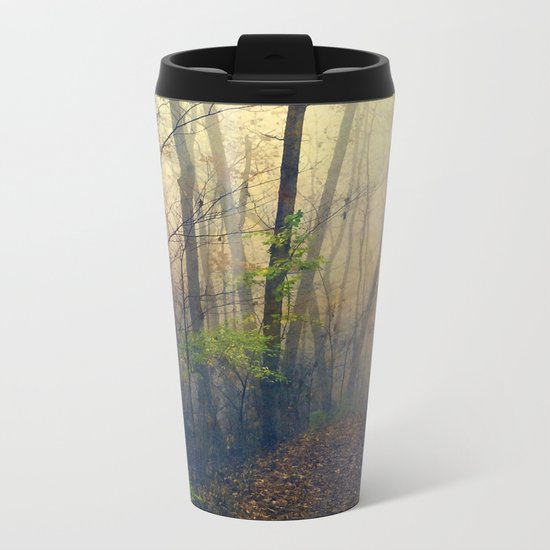 Wandering in a Foggy Woodland Metal Travel Mug