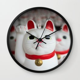 Japanese Lucky Cat Photography Wall Clock