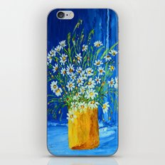 Daisies by the blue wall  iPhone Skin