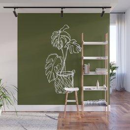 Monstera Line Art   Forest Green Wall Mural