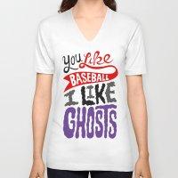 baseball V-neck T-shirts featuring Baseball, Ghosts by Chris Piascik
