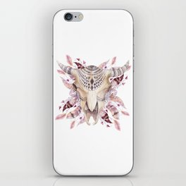 Cow skull with feathers iPhone Skin