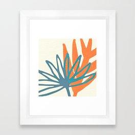 Mid Century Nature Print / Teal and Orange Framed Art Print