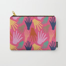 Minimalist Hands in Coral Carry-All Pouch