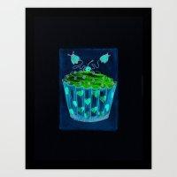 Cupcake & Lady Bugs Water Color Print Art Print