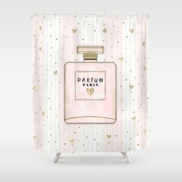 Pink & Gold Paris Parfum Shower Curtain