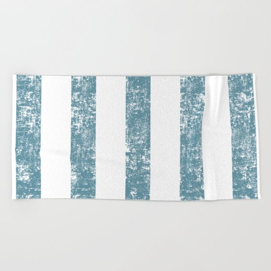 Maritime Navy Beach Pattern- Blue and White Stripes- Vertical - Beach Towel