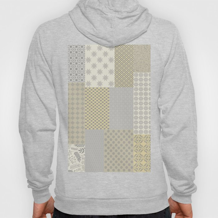 Modern Farmhouse Patchwork Quilt in Gray Marigold and Oatmeal Hoody