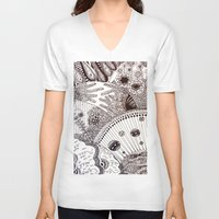 zentangle V-neck T-shirts featuring Zentangle by Marisa Toussaint