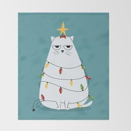 Grumpy Christmas Cat Throw Blanket