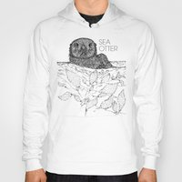 otters Hoodies featuring Sea Otter Sketch by Hinterlund