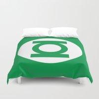 green lantern Duvet Covers featuring Green Lantern Minimalist Poster by Bigvince-Vincent Tavera