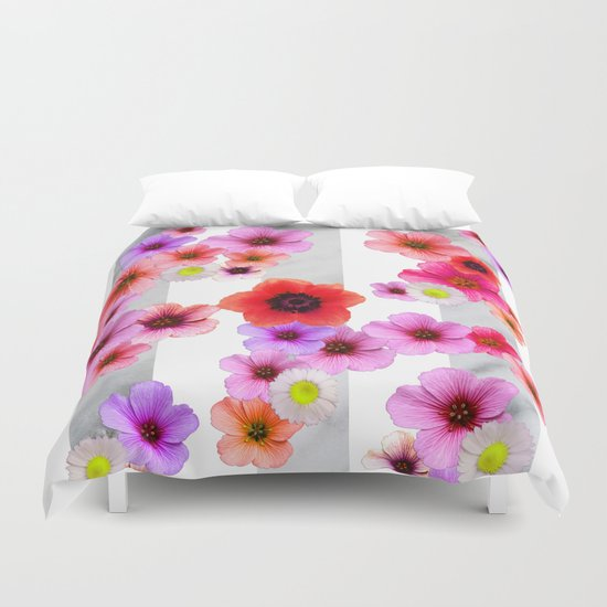 Flowers and Stripes 4 Duvet Cover