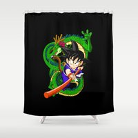 goku Shower Curtains featuring Little Goku by feimyconcepts05