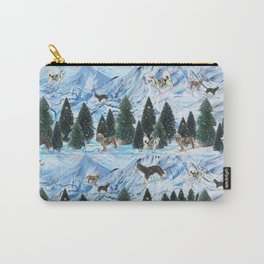 Dogs Skiing - Mountain Resort Scene with Bernese Mountain Dogs, Golden Retrievers, and Malamutes Carry-All Pouch