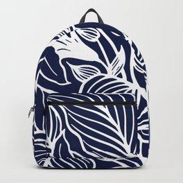 Navy Blue Floral Minimal Backpack