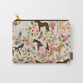 Horses floral horse breeds farm animal pets Carry-All Pouch
