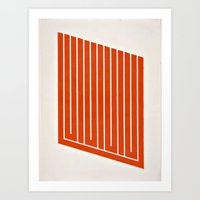 Orange Geometric Mod Art 1 Art Print