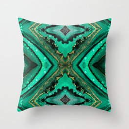 Malachite-inspired alcohol ink art with hints of emerald green, gold and black Throw Pillow