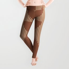 Moon Phases in Terracotta and Beige Leggings