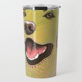Bella ... Abstract modern pet dog art .. Yellow Labrador Retriever Travel Mug