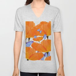 Poppies And Butterflies White Background #decor #society6 #buyart Unisex V-Neck
