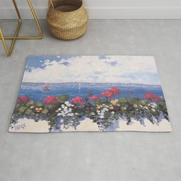 Geraniums by the Bay Rug