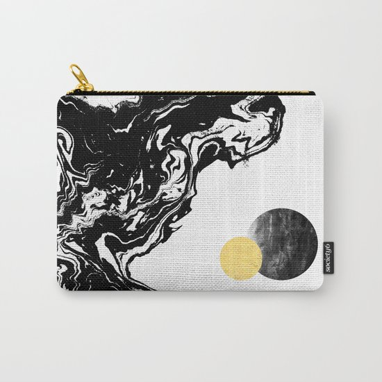 Eugenia - abstract mixed media black white gold foil sunrise sunset painting earth galaxy space sea Carry-All Pouch