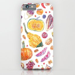 Autumn Harvest Pattern White iPhone Case