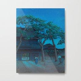 Japanese Woodblock Print Night Shrine Man Carrying Child Metal Print