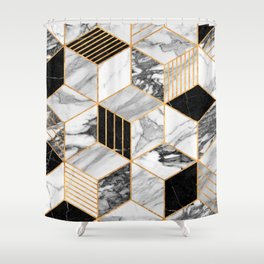 Marble Cubes 2 - Black and White Shower Curtain