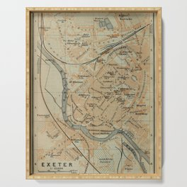 Vintage Exeter England Map (1910) Serving Tray