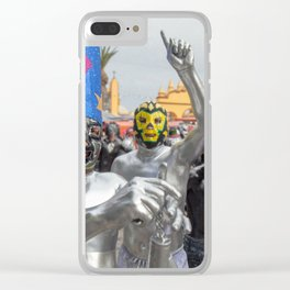 Silver Lucha Libre Clear iPhone Case