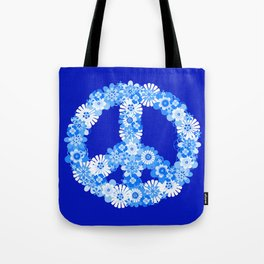 Peace Sign Floral Blue Tote Bag