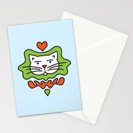 Cute Cartoon Cat With Heart - Orange and Green Stationery Cards