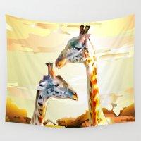giraffes Wall Tapestries featuring Giraffes by Eric Bassika