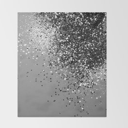 Sparkling Silver Gray Lady Glitter #1 #shiny #decor #art #society6 Throw Blanket