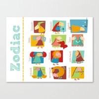 zodiac Canvas Prints featuring Zodiac by Loezelot