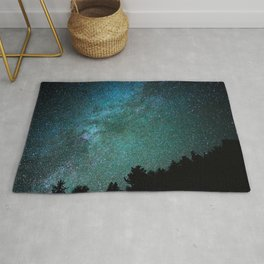 Colorful Green Blue Milky Way Night Sky With Tree Silhouette Rug