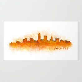 Cleveland City Skyline Hq V3 Art Print