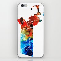 patriots iPhone & iPod Skins featuring Massachusetts - Map Counties By Sharon Cummings by Sharon Cummings