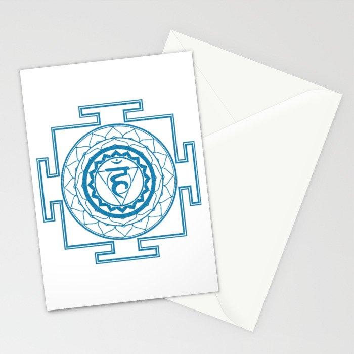 Sri Yantra Throat Chakra Stationery Cards by iamcosmosis