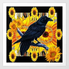GRAPHIC BLACK CROW & YELLOW SUNFLOWERS ABSTRACT Art Print