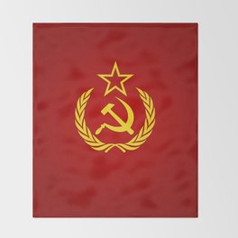 Hammer and Sickle Textured Flag Throw Blanket