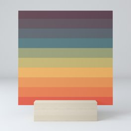 Colorful Retro Striped Rainbow Mini Art Print
